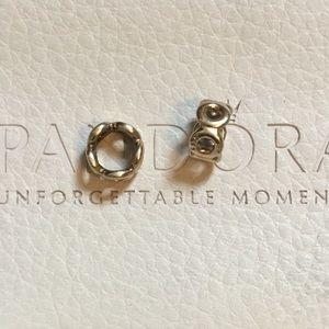 Pandora 14k gold circles spacer charm 1pc